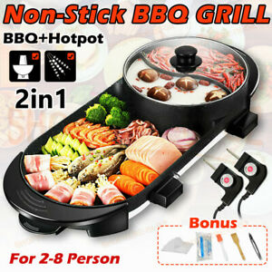 NEW-Electric 2 in 1 Hotpot Oven Smokeless Barbecue Pan Grill Machine Hot Pot BBQ