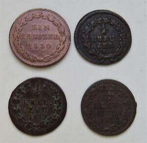 Nassau, Wilhelm, Kreuzer 1830, 1/4 Kreuzer 1814, 1819, 1822