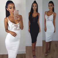 Womens Lace Bandage Bodycon Sleeveless Cocktail Evening Party Mini Dress~