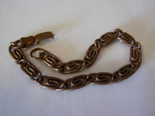 "Solid copper vintage double S link design bracelet, 8"" long"