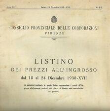 Listino dei Prezzi all'Ingrosso dal 18 al 24 Dicembre 1938