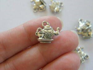 8 Teapot and teacup charms antique silver tone FD54