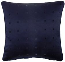 """FILLED JACQUARD CHECK NAVY BLUE 22"""" 55CM PIPED CUSHION"""