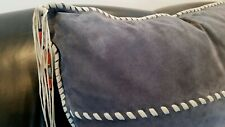 25 X 25 Large Decorative SUEDE PILLOW w/ Native American Southwest beaded tassel