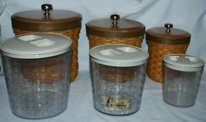 12 Pieces Longaberger Warm Brown 2007 Canisters, Storage Plastic Inserts, Lids