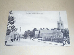 EARLY 1914 POSTCARD - CARNEGIE LIBRARY, KETTERING, NORTHAMPTONSHIRE
