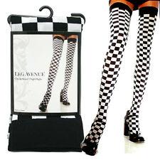 Leg Avenue Black and White Checkerboard Thigh Hights Stocking Leggings