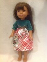 """Fit Wellie Wishers American Girl 14"""" doll clothes Christmas Green dress outfit"""