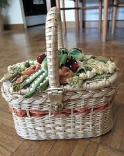 Women's Garden Party Vintage Bag Basket Fruits Vegetables Flowers Strawberrys