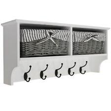 Hallway Wall Storage Shelf with 2 Baskets and 6 Coat Hooks - White / Grey BA0917
