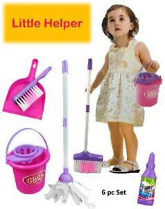 Childrens Cleaning Role Play Kitchen Set Kids Toy Helper Dustpan Sweeping Brush