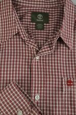 Timberland Hombre Rojo Blanco y Negro Geométrico Camisa Algodón Ocasional M