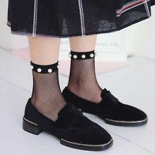 Frill Trim Breathable Transparent Pearl Stockings Ankle Socks Sheer Mesh