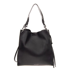 RRP €515 REBECCA MINKOFF Leather Tote Bag Large Grainy Magnetic Snap Closure