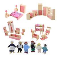 Wooden Furniture Dolls House Family Miniature Room Set Dolls For Kids Children