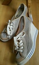 Nanette Lepore for Keds mesh/leather tan wedge lace up casual shoes, 10