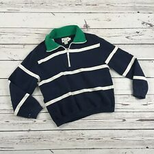 Nautica Competition vintage womens navy stripe Zip Pullover Jacket Sweater large