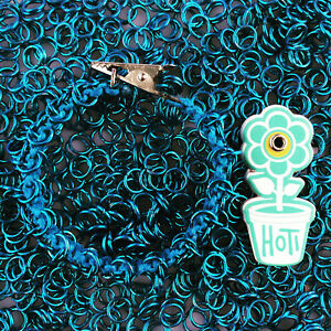 HOTI Hemp Handmade Turquoise Roach Clip It Chainmaille Chain Link Blue Bracelet