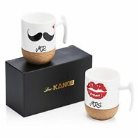 Love-KANKEI Mr and Mrs Ceramic Mugs with Novelty Cork Bottom - Wedding Gifts Ann