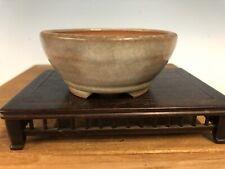 "Handmade Unknown Japanese Shohin Or Mame Size Bonsai Tree Pot 3 7/8"" Cream Glaze"