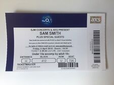 USED SAM SMITH TICKET STUB @ O2 ARENA, LONDON 6th APRIL 2018 - MINT CONDITION