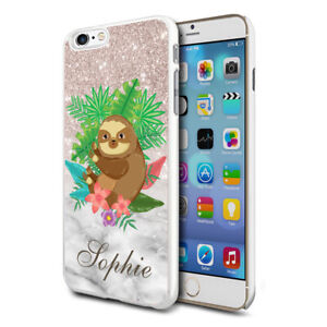 Personalised Flower Sloth Phone Case Cover For Apple Samsung Initial Name