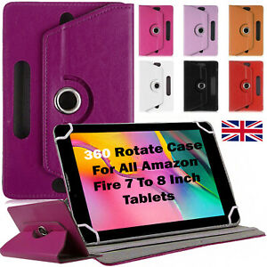 """For All Amazon Kindle Fire 7"""" To 8"""" Tablets Leather 360 Rotate Case Cover Stand"""