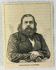 small 1873 magazine engraving ~ French Writer THEOPHILE GAUTIER