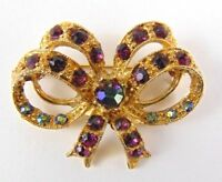 Vintage Brooch Gold Tone Double Bow sparkle faceted stones - Gift - Parties
