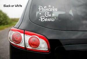 Princess on Board Disney Car Window Glass Sticker Vinyl Decal Child Van Sign