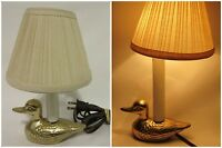 Vintage Brass Duck Table Desk Lamp Night Light With Shade Electric Figure Decor