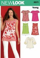 New Look Sewing Pattern 6871 Misses Tops Size 10-22 A