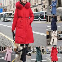 Womens Winter Coat Puffer Faux Fur Collar Hooded Long Jacket Parka Overcoat Chic