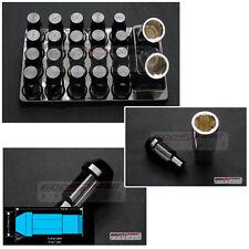 Godspeed Type-4 Wheel Rim Racing Lug Nuts 50mm 20 Piece w/ Lock M12 X 1.5 Black