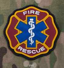 FIRE & RESCUE 3D PVC USA EMS MEDIC RED CROSS COLOR VELCRO® BRAND FASTENER PATCH
