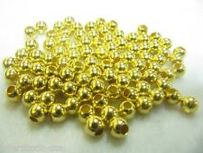 10pcs Solid 24K Yellow Gold Smooth Round Beads 1.2g / for Bracelet