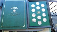 12 Franklin Mint Sterling Silver Proof Girl Scout Medals Norman Rockwell Framed