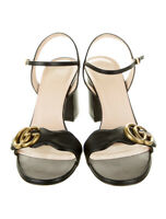 100% authentic GUCCI leather gg marmont strappy sandals black gold logo 37.5