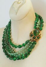 Vintage SELINI Signed Green Resin Beaded Gold Multi Layered 6 Strand Necklace