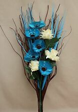 HANDMADE ARTIFICIAL SILK TEAL POPPY CREAM FLOWER BOUQUET READY FOR YOUR VASE