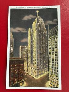 AK (1642) Penobscot Building at Night, Detroit, gelaufen - 1938