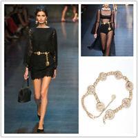 Women's Fashion Gold Metal Waist Belt Chain Ladies Tassel Waistband