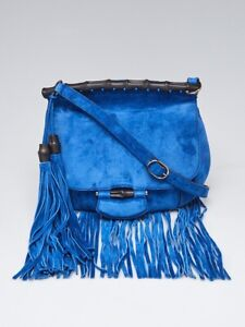 Gucci Blue Suede Nouveau Fringe Medium Shoulder Bag