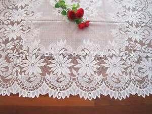 Again@ Elegant Daisy Flower Filet Lace White Table Cloth L Size