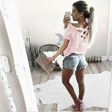 Women Short Sleeve T shirt Lace Up Back Stretch Fitted Summer Casual Tops Blouse