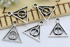 15/60/300pcs Tibetan Silver Filigree Harry potter Deathly Hallows Charms 13x12mm