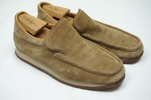 Hermes light Brown Suede Moc Toe Mens Slip On Shoes Sz 44 Made in Italy