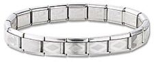 Italian Charm Diamond Etched Bracelet Stainless Steel Silver 9mm Modular Link