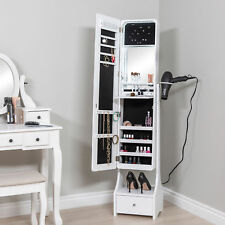 Full Size Length Free Standing LED Mirror Jewelry Armoire Makeup Cabinet White