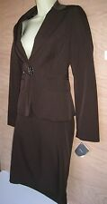 MNG DARK BROWN WITH SHADOW PIN STRIPES JACKET/BLAZER AND SKIRT SUIT, SZ 6US